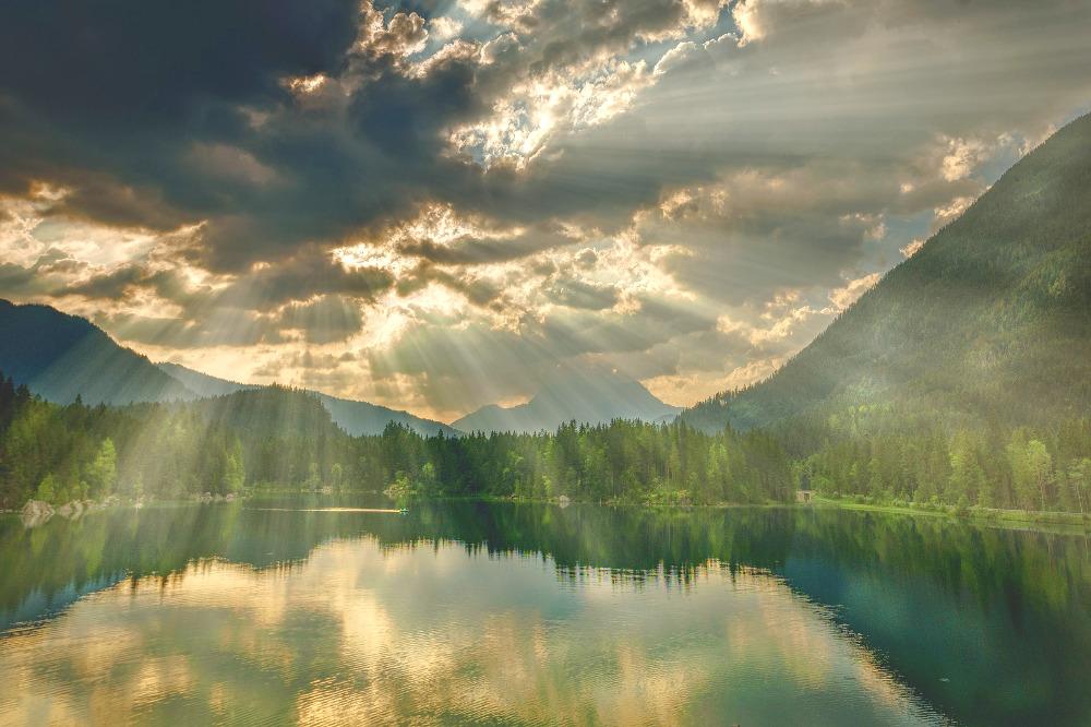 mountains, sun, sacred fire